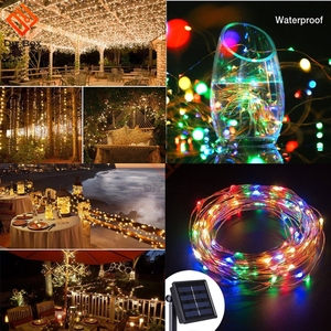 Image 5 - Outdoor Solar Powered 33Ft 100 LED 10M Copper Wire Light String Warm White Colorful White Waterproof safe use Fairy Xmas Party