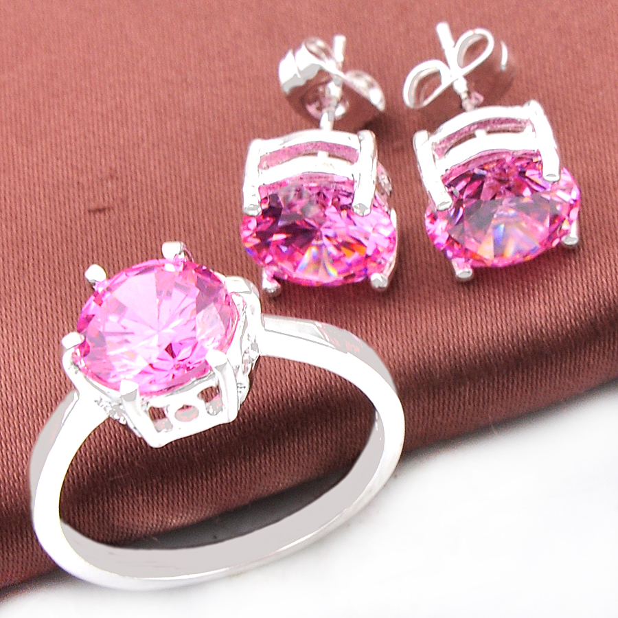Top Jewelry Special Round Fire Pink Cubic Zirconia Silver Earrings ...