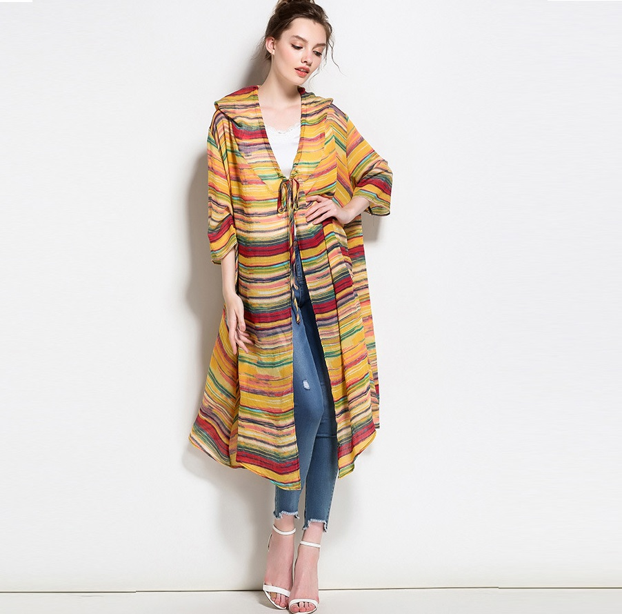 New2017Summer Women plus size long stripe cardigan shirt Outer Wear ...