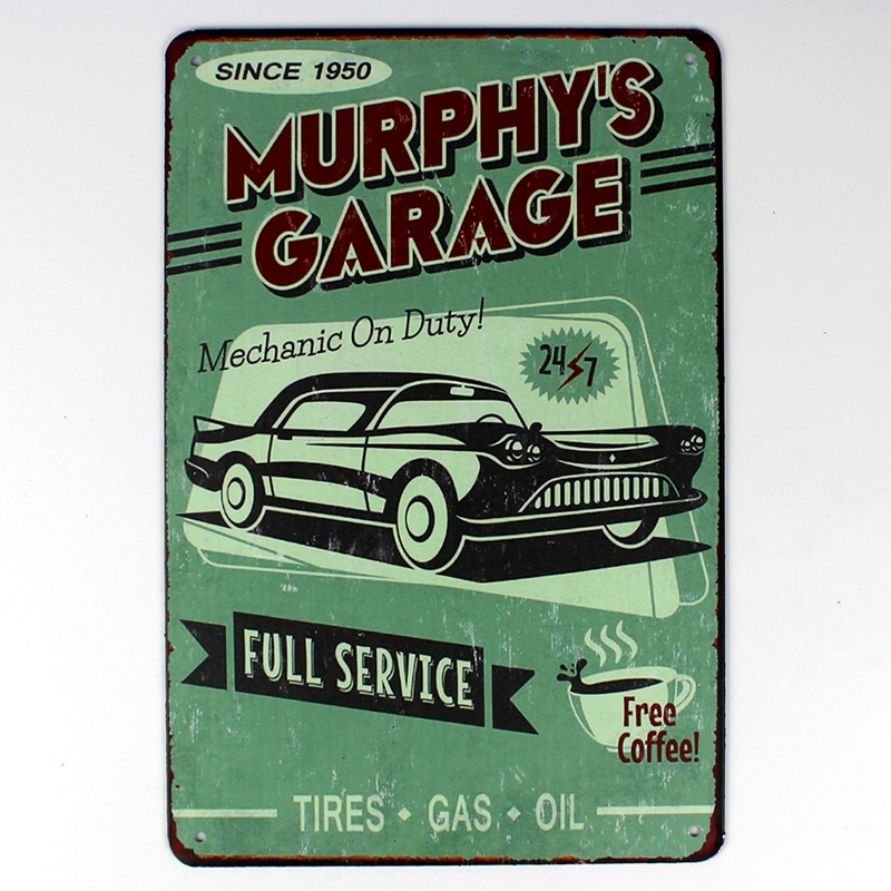 fashion 20*30cm MURPHYS GARAGE NGK spark plugs grease monkey retro Tin Sign indoor Wall Art decoration Bar Metal Paintings