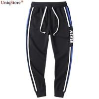 UniqStore New Men Double Striped Track Pants Fashion Skinny Letter Joggers Sweatpants Harem Pants Men Slim