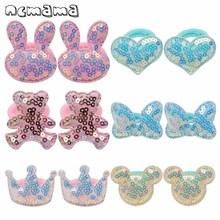 ncmama Hair Accessories 12pcs/lot Sequin Bunny Rubber Band for Girls Cute Cartoon Elastic Rope Headband Kids Headwear