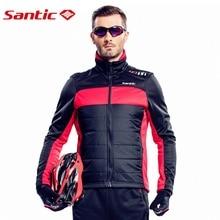 Santic Men Cycling Winter Jacket Long Sleeve Fleece chaleco ciclismo Windproof Bicycle Jersey Thermal Fleece Riding Bike Jerseys