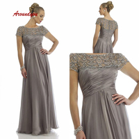 Gray Long Mother of the Bride Dresses for Weddings Chiffon Gowns Groom Godmother Dinner Dresses 2019