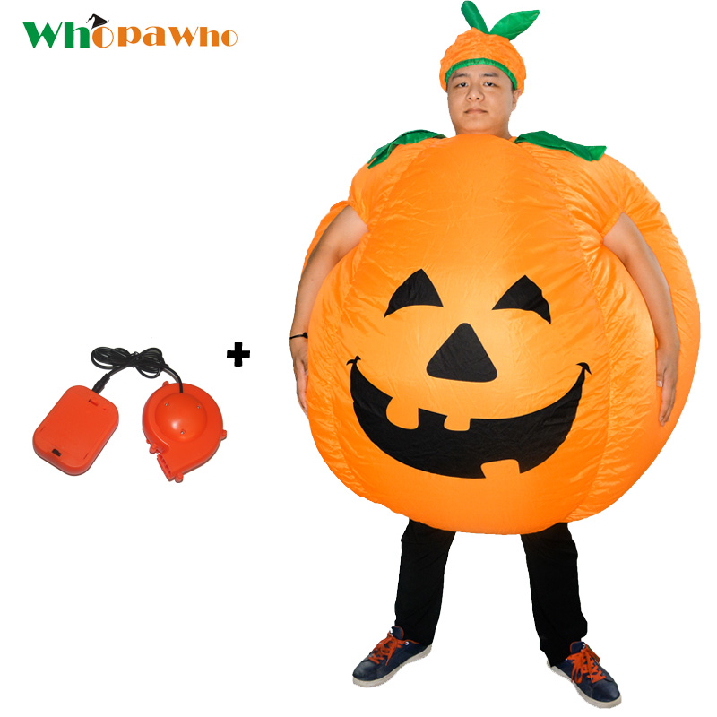 Adult Inflatable Pumpkin Costume Purim Halloween Fan Operated Blowup Mascot Fancy Dress for men women Christmas Carnival Costume