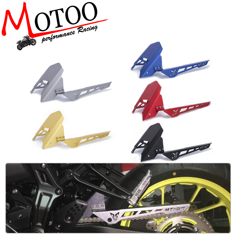 Motoo - CNC Aluminum Rear Tire Hugger Fender Mudguard Chain Guard Cover For Yamaha MT07 MT-07 2013-2017 FZ07 2015-2017 motoo for yamaha mt07 mt 07 2013 2017 fz07 2015 2016 2017 cnc aluminum rear tire hugger fender mudguard chain guard cover