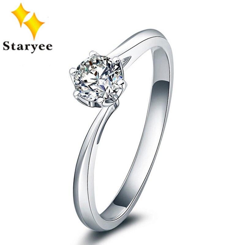 0.5 Carat VS D couleur Charles Colvard F One Moissanite diamant bagues de fiançailles pur 18 K or blanc bijoux pour femmes Au750 timbre