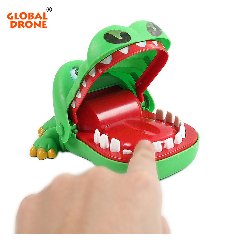 Global Drone Big mouth crocodile biting finger Game Funny Gift Gags Novelty Toys For Kids Crocodile Dentist Bite With Keychain