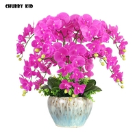 100% High simulation real touch ikebana Hi Q artificial orchid flowers arrangements latex orchid floriculture pot culture suits