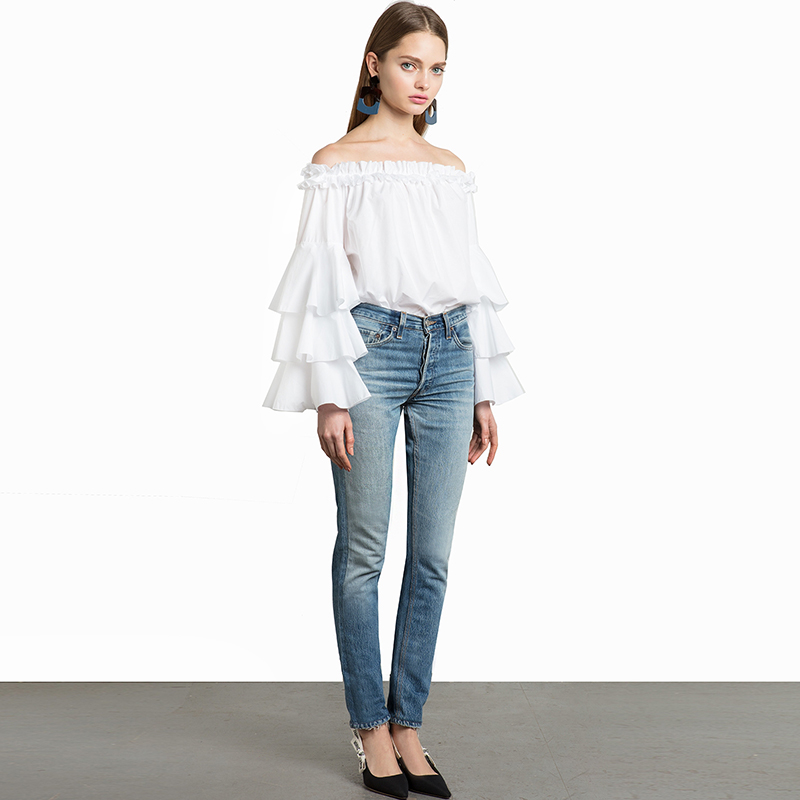 Sweet Princess White Cotton Ruffles Shirt Blouse Female Flare Sleeve
