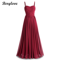 BeryLove Simple Burgundy Bridesmaid Dresses 2018 Spaghetti Straps Chiffon Bridesmaid Gowns Women Wedding Party Dresses