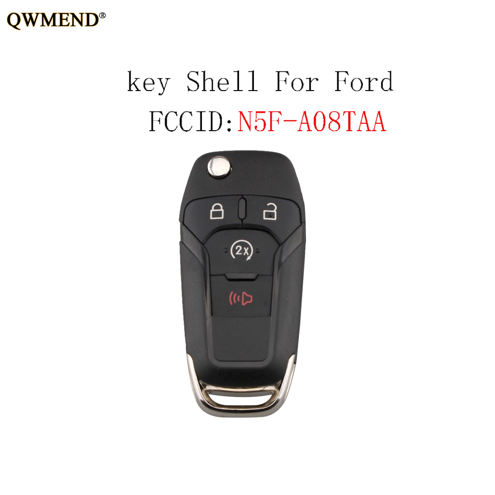 QWMEND 3+1 Buttons Remote <font><b>key</b></font> shell For <font><b>Ford</b></font> <font><b>Fusion</b></font> Edge Explorer 2013 2014 <font><b>2015</b></font> For <font><b>Ford</b></font> N5F-A08TAA Car <font><b>key</b></font> shell image