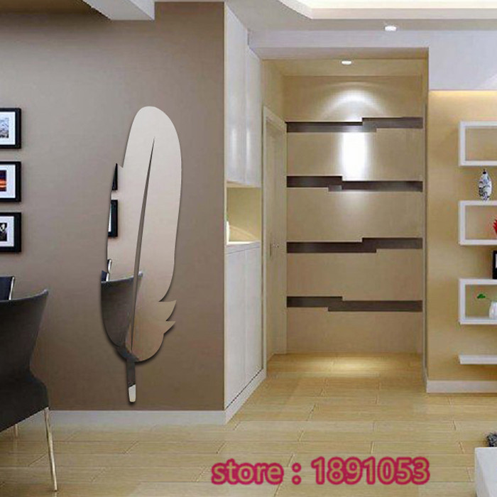 Acrylic Feather Mirror Wall Stickers Living Room Backdrop Bedroom Children S Dressing In From Home