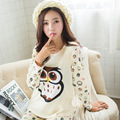 GOPLUS 2016 Brand Design Owl Pattern Pajama Sets For Women Autumn Winter Female Milk Silk Pants Pyjamas Girls Nightgown C1705