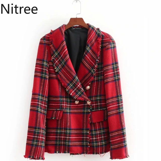 98d1ad5e4eb73 Red and green scottish tartan green collar pearl button short tassel long  sleeve thick coat fashion shirt women s clothing