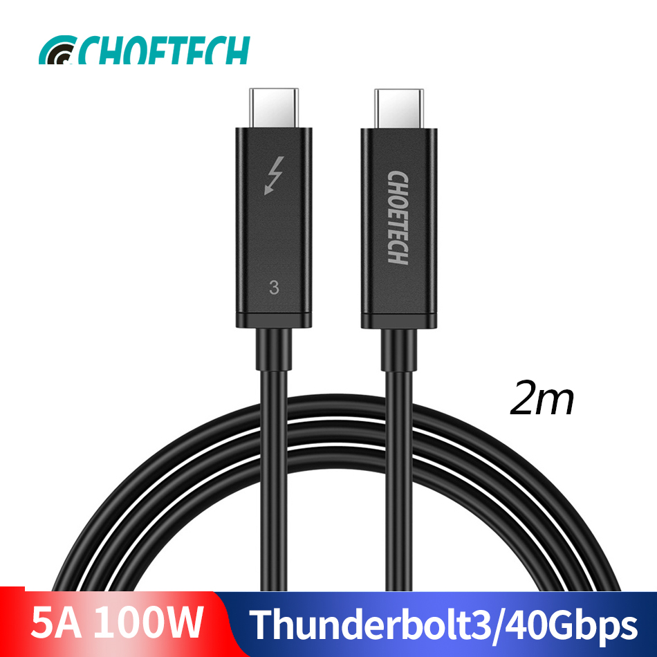 CHOETECH Câble Thunderbolt 3 40gbps 100 W Support De Charge 5 K écran UHD 4 K 60 HZ USB type C Câble HDMI Pour 2016-2018 Macbook Pro