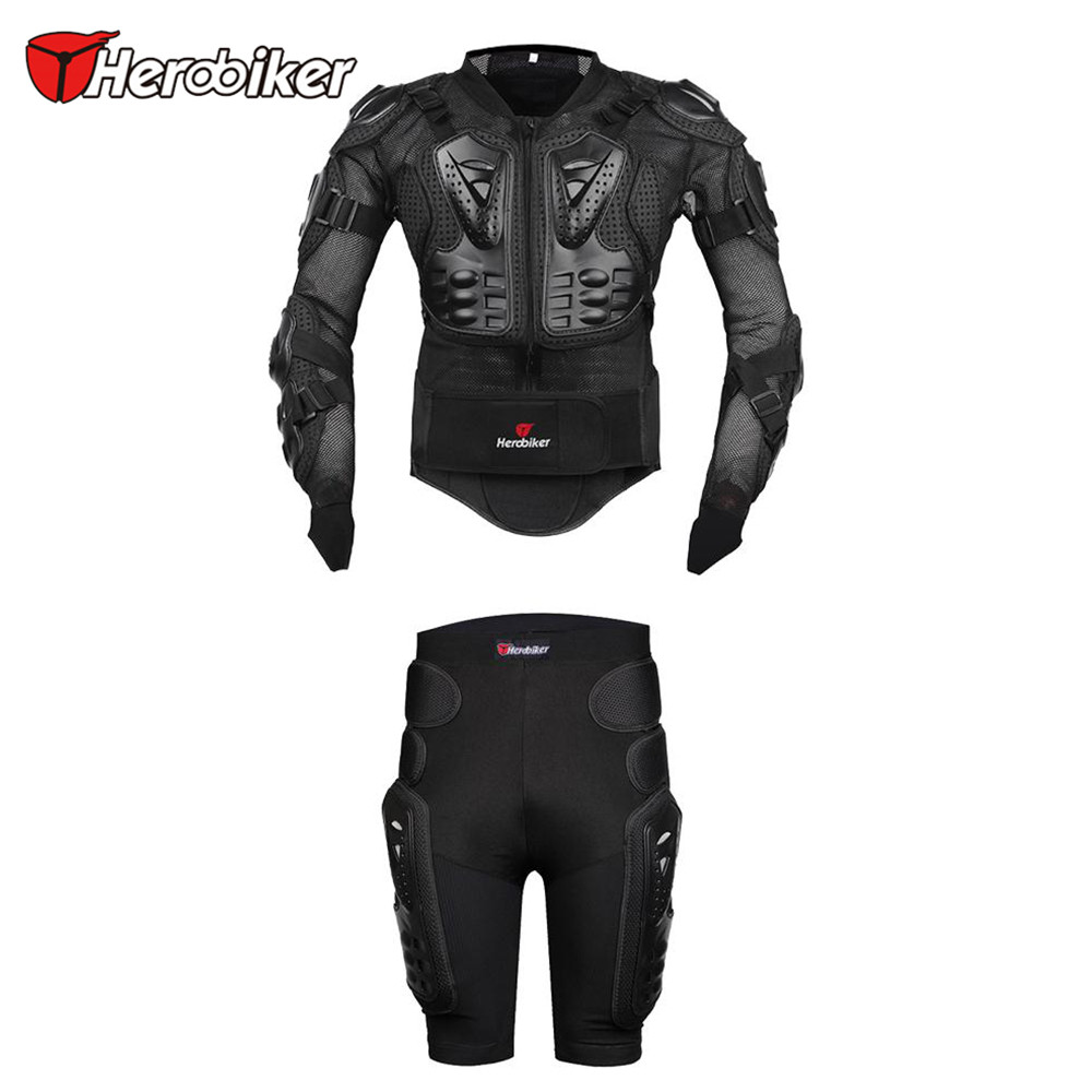 New Herobiker Motorcycle Body Armor Protective Jacket+ Gears Short Pants Hip Protector Kits Motorcycle Riding Suits Sets herobiker black motorcycle racing body armor protective jacket gears short pants motorcycle knee protector moto gloves