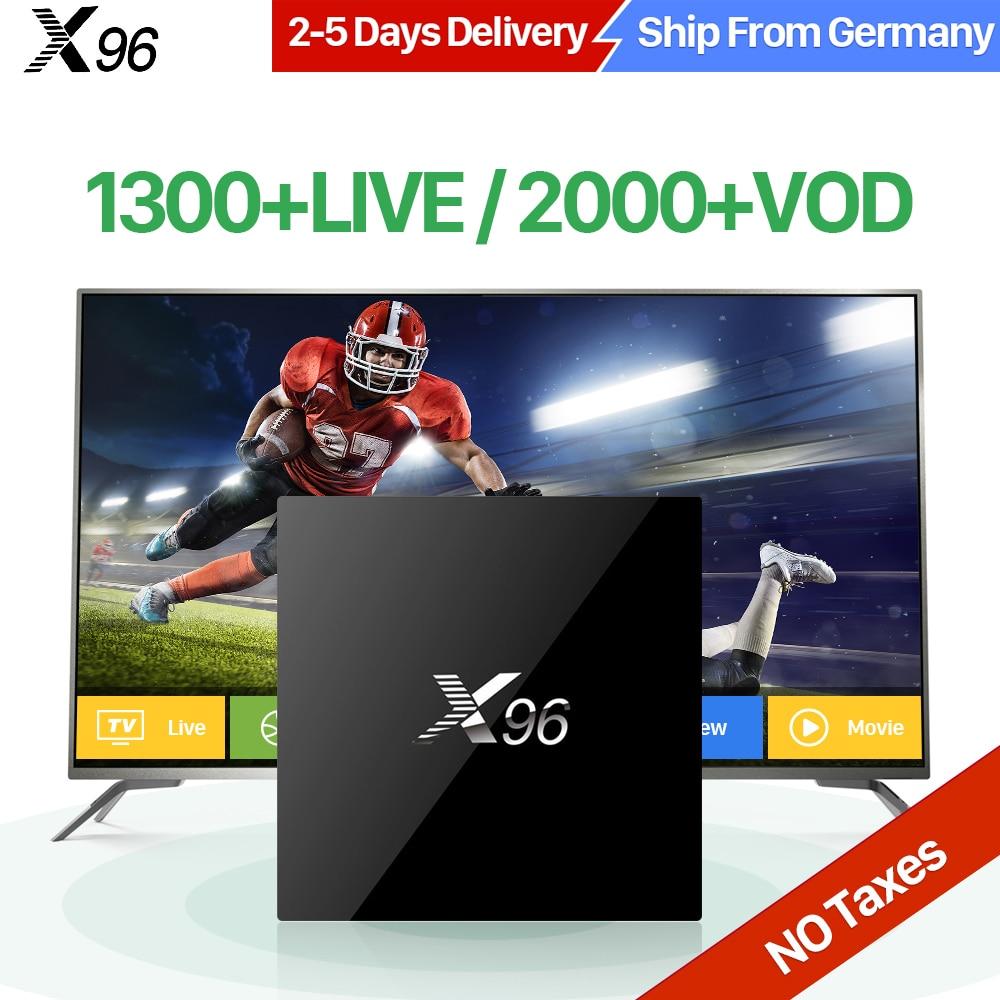 1pcs by post t95x 2gb 16gb 2 years warranty android6 0 tv boxes iptv 4k kodi16 1 amlogic a53 s905x Arabic Android 6.0 TV Box X96 1 Year QHDTV Code 1300 Channels 2GB 16GB Amlogic S905X Quad Core Europe Portugal French IPTV Box