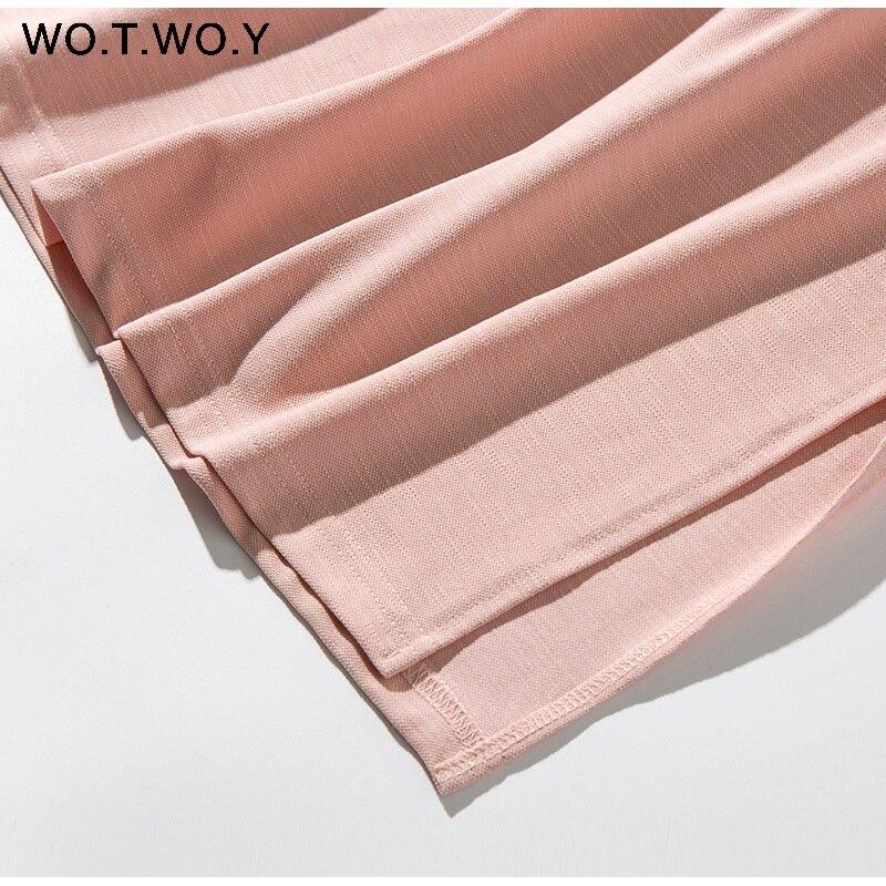Long T-shirt Dresses Women Summer Sashes Waist Slit Casual O-Neck Short Sleeve Loose Ankle-Length Dress Woman Pink Cotton 28