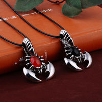 Free Shipping Titanium Steel Zinc Alloy Red Black Gem Scorpions Male Necklace For Men Fashion Jewelry