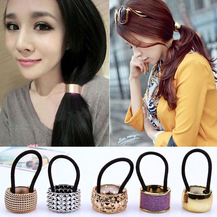 2020 Hairband Pearl Women Hair Accessories Scrunchy Punk Ponytail Holder Plastic Crystal Gum For Hair Ring Elastic Hair Band