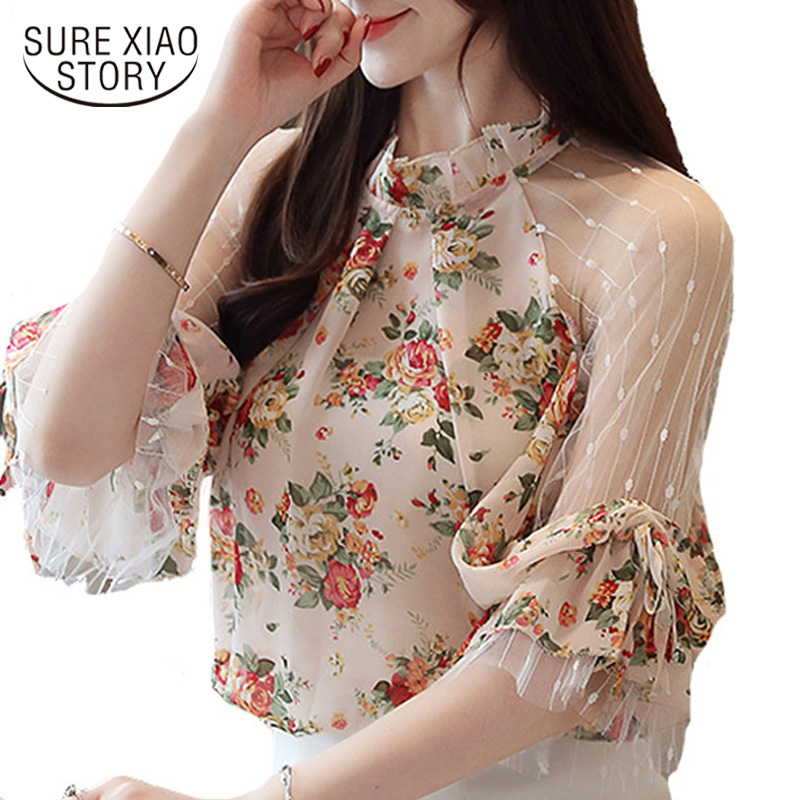 Blusas Mujer De Moda 2019 Women Blouses Camisas Mujer Floral Print Lace Chiffon Blouse Women Womens Tops And Blouses 4068 50