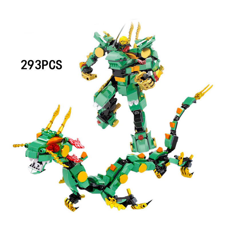 2018 Ninja Movie Lloyd Mechanical Green Dragon Knight 2in1 Mech Robot Go Building Block Figures Bricks Toys for Children Gifts 4pc set ninjagoes dragon knight building blocks kids hot toys ninja bricks mini action figures enlighten toy for children friend