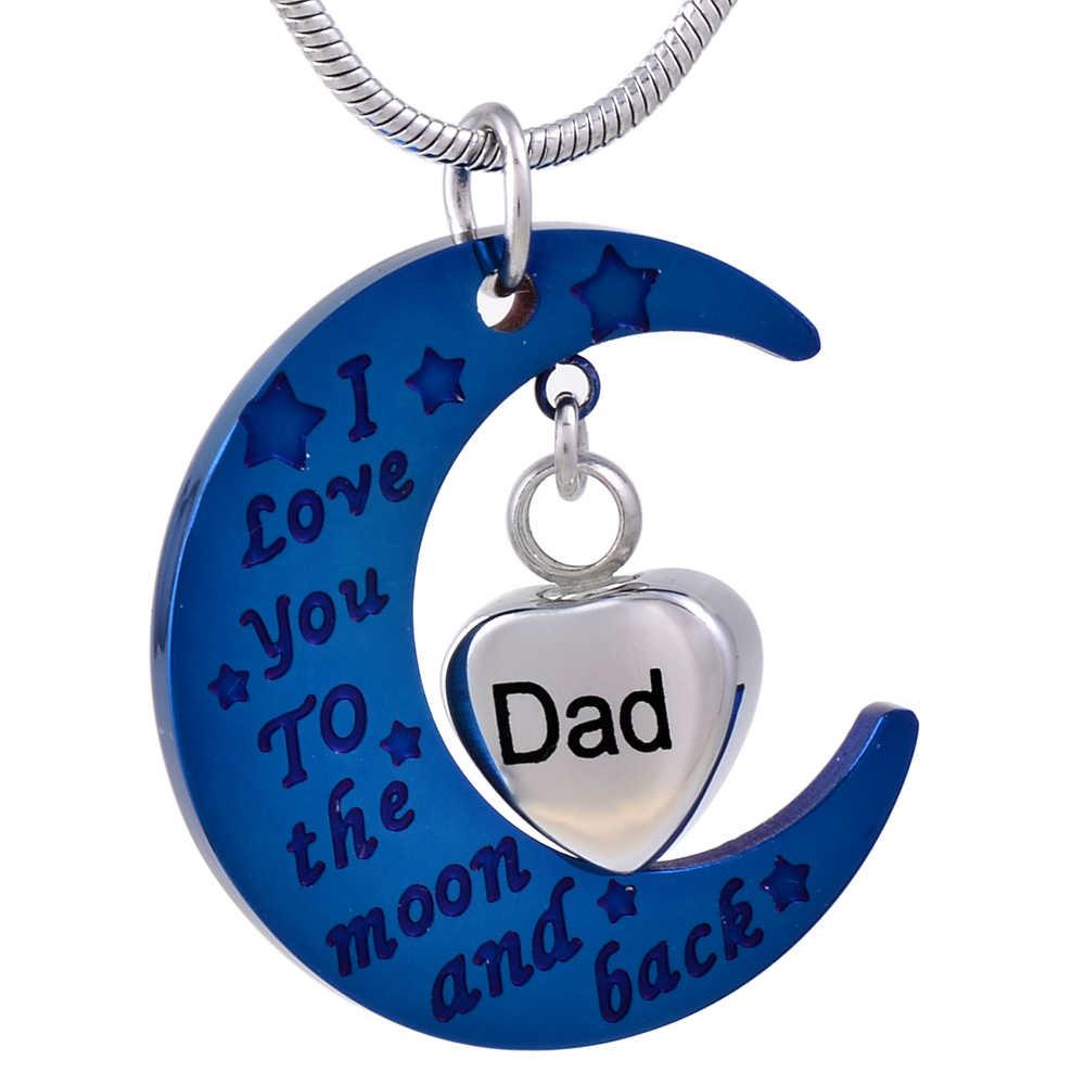 IJD9470 Kustom Mengukir Ayah Jantung Urn Pesona Keepsake Anti Karat Biru Bulan Aku Mencintaimu Ke Bulan dan Kembali liontin untuk Abu