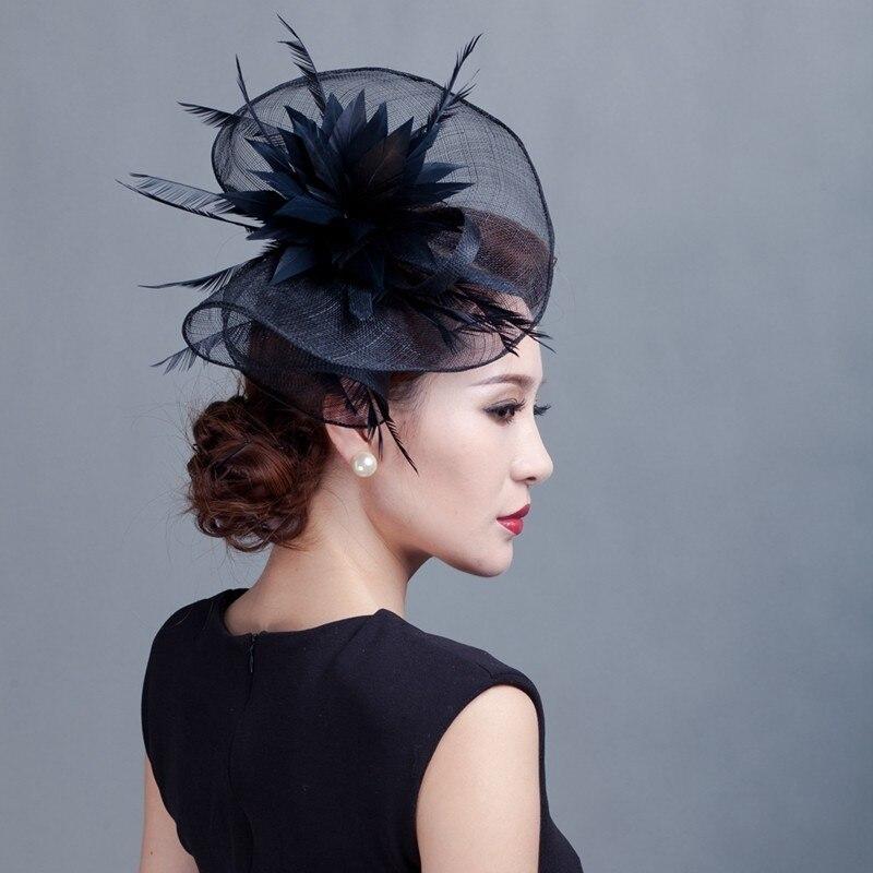 Cadeau Cocktail fête de mariage église casque mode chapeaux formelle plume haut chapeaux femmes Chic Sinamay Fascinator chapeau