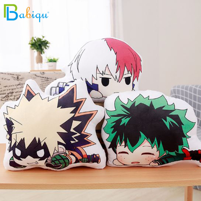 1pc 15/35cm Lovely Anime Bakugou Katsuki Todoroki Shoto Midoriya Izuku Bolster Plush Boku No Hero Academia Pillow