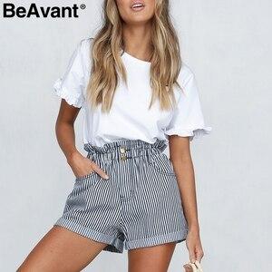 Image 3 - BeAvant פסים קיץ סיבתי מכנסיים קצרים נשים 2019 כפתור רוכסן כותנה גבוהה מותן מכנסיים נקבה חוף מכנסונים מיני מכנסיים קצרים תחתון
