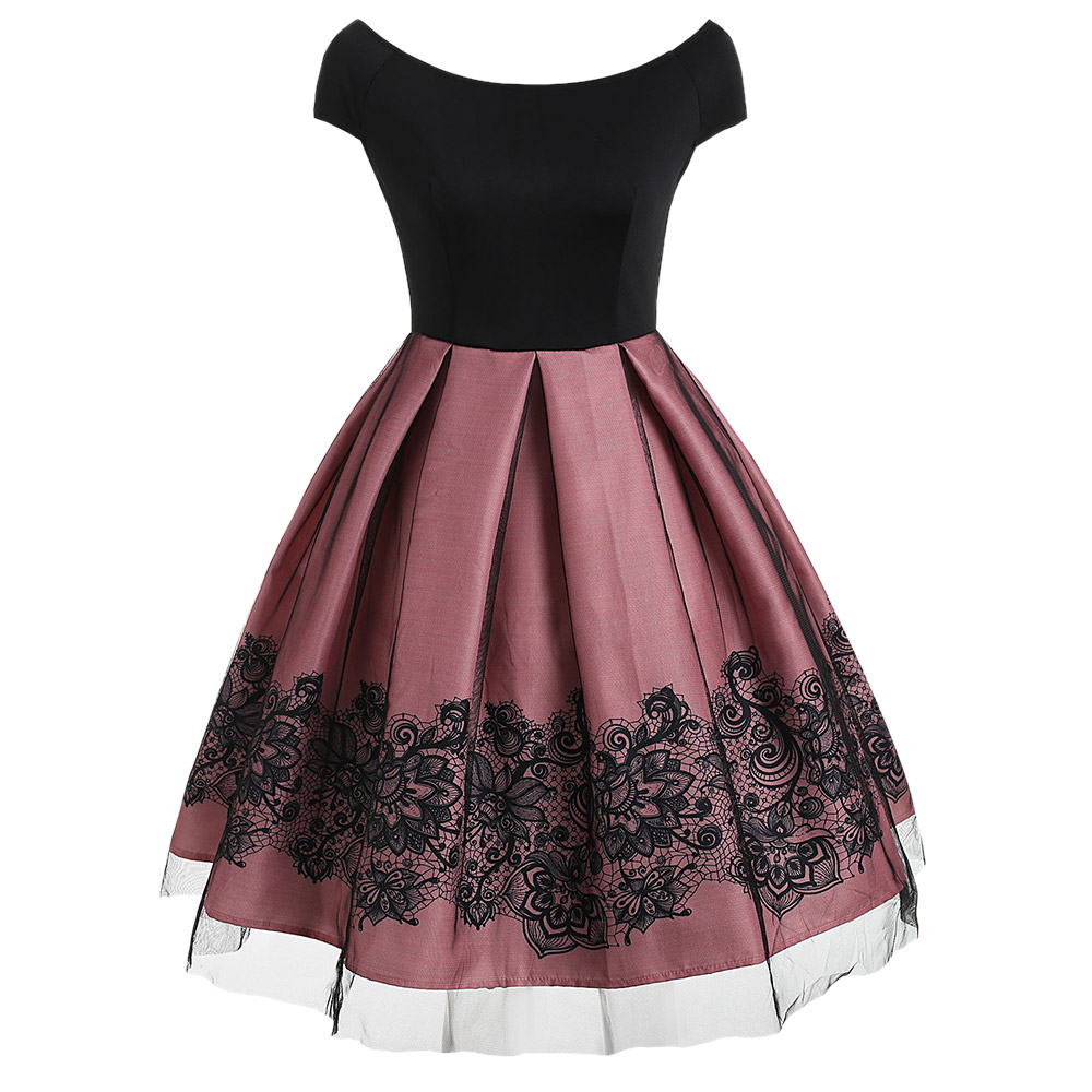 3f83c2c5d040 Wipalo Short Sleeve Vintage Dress With Mesh Vintage Dresses Spring  Patchwork Dress Slash Neck Retro Elegant Floral Dresses