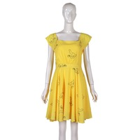 2018 New La La Land Dress Mia Emma cosplay costume Stone Summer Yellow Floral Skater Dress Vestidos for adults