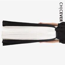 07c13ccba9cf CHICEVER Mousseline de Soie Pantalon Pour Les Femmes Jambe Large Pantalon  Hit Couleur Élastique Taille Haute Plissée Femmes Pant.