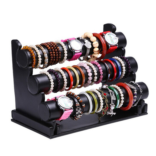New and Fashion 3 Tier Black Leather Bracelet Chain Watch T Bar Rack
