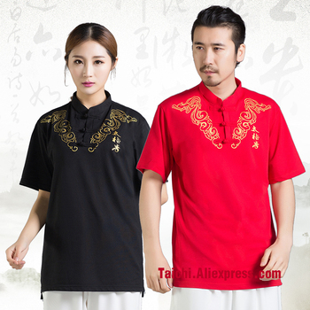 Chinese Martial Art T-shirt Cotton Top Embroidery T Shirt Men And Women High Quality 6 Colors