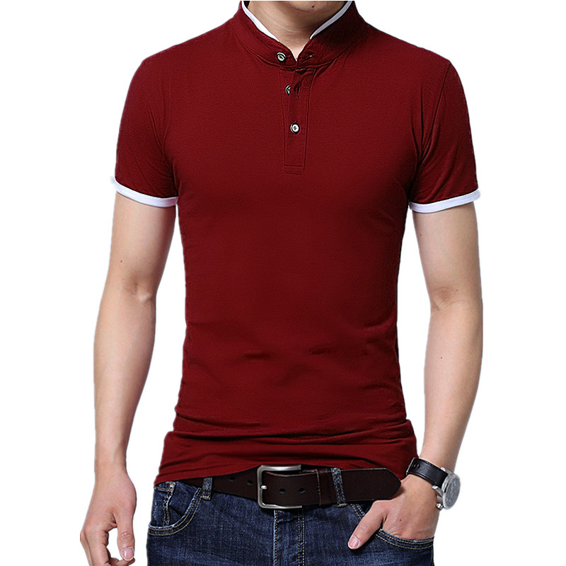 2019 Summer stand collar two buttons short sleeve   polo   shirt men fashion slim simple urban contrast color cotton breathable Tops