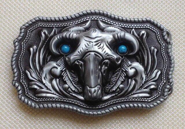 Moda ovejas cabeza cráneo hebilla de cinturón con acabado de peltre SW-BY116 adecuado para 4 cm cinturón wideth con stock continuo envío libre