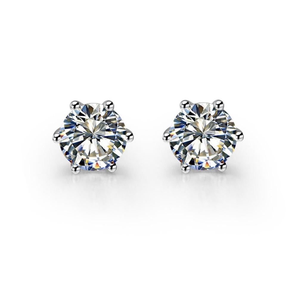 Stud Earring Diamond Wedding-Jewelry 14k Gold White Round Engagement Authentic SONA Elegant