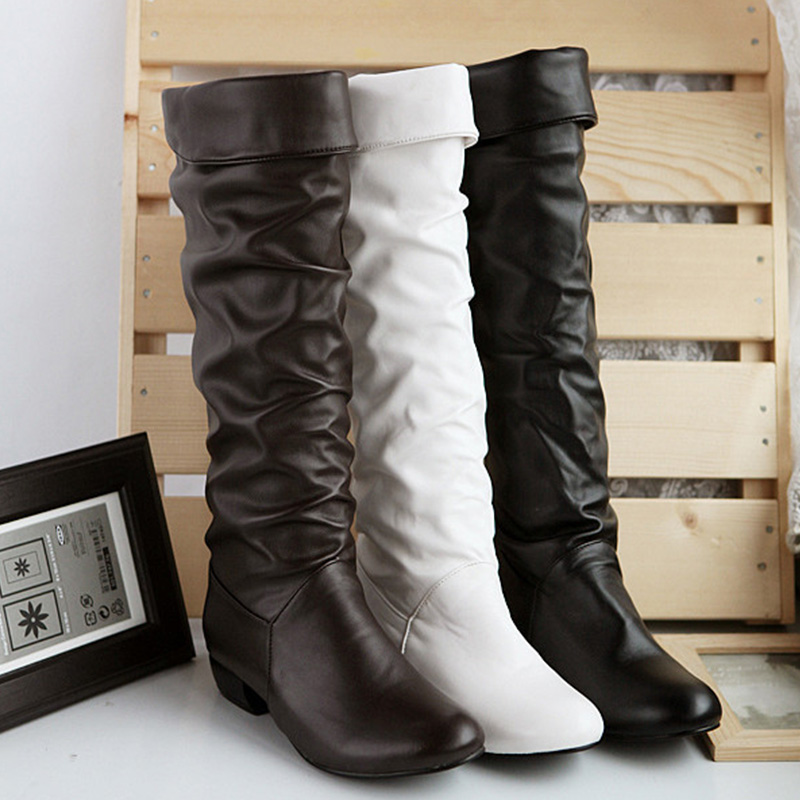 Women Heels Boots Female Autumn Knee High Woman 2019 Hot Fashion Shoes Black White Leather