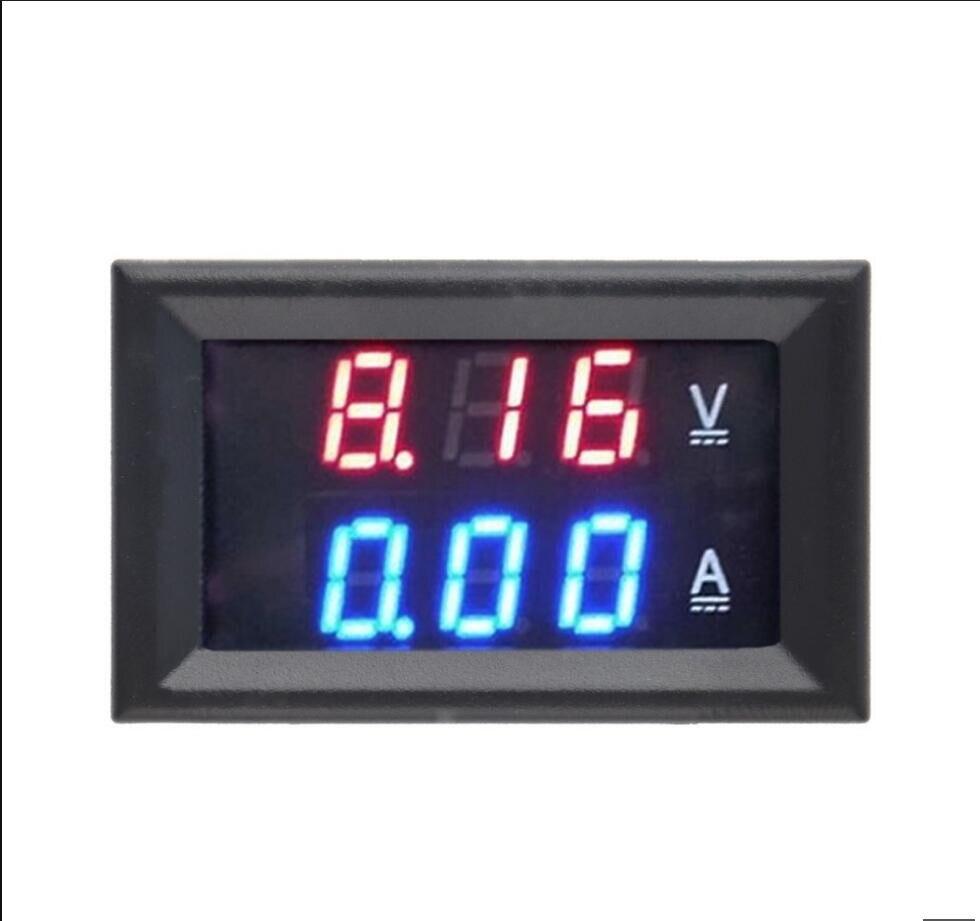 Amperímetro de voltímetro 1 Uds CC 0-100V 10A rojo + azul/rojo + rojo LED Amp medidor doble voltímetro Digital pantalla LED
