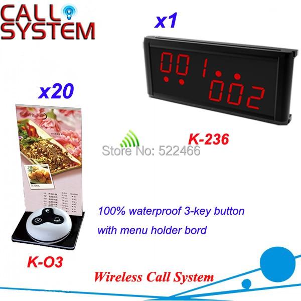 Вызова клиентов Bell система для кофе магазин ресторан с 20 стол пуговица и 1 светодиодный дисплей