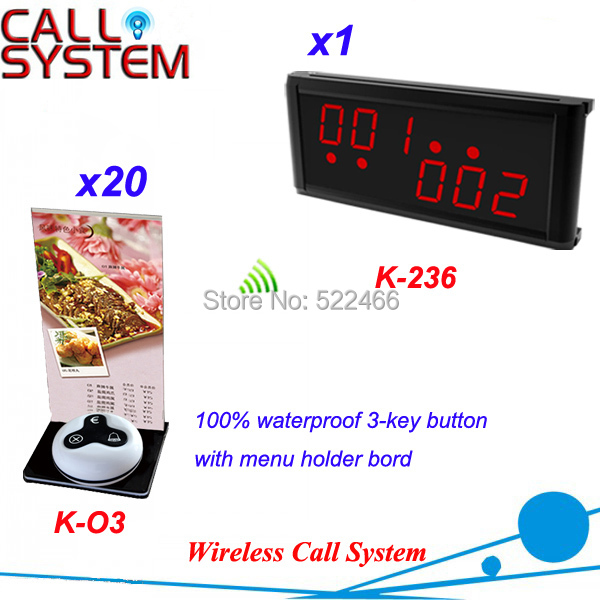 Customer Call Bell System for coffee shop restaurant with 20 table button and 1 LED display, DHL shipping free new customer call button system for restaurant cafe hotel with 15 call button and 1 display shipping free