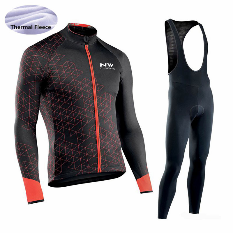 NW Men Cycling Jersey 2018 pro team Long Sleeve set Winter Thermal Fleece Ropa Ciclismo hombre outdoor bicycle Cycling Clothing