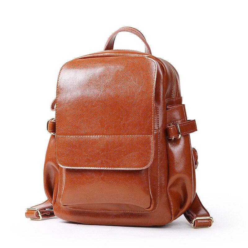 все цены на 2018 Spring Summer Women's Bag Fashion Oil-wax Cowhide Ladies' Backpack Travel School Casual Backpacks Female Shoulder Bag онлайн