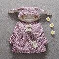Bebé caliente Del Invierno Parkas Niñas Floral Con Capucha de Algodón Espesar Chaquetas Escudo Abrigos Nieve Desgaste Casaco + bolsa