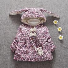 Hiver chaud Bébé Filles Parkas À Capuchon Floral Coton Épaissir Vestes Manteau Survêtement Neige Usure Casaco + sac