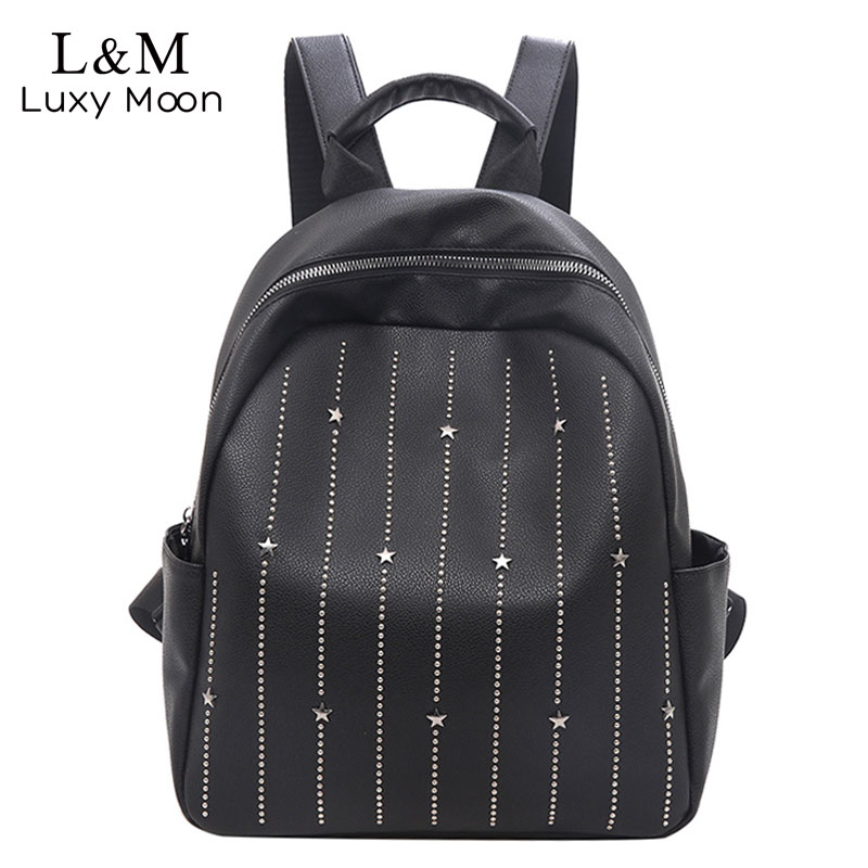 Women's Bags Backpacks Objective Simple Style Backpack Women Leather Backpacks For Teenage Girls School Bags Fashion Rivets Black Shoulder Bag Mochila Xa404h