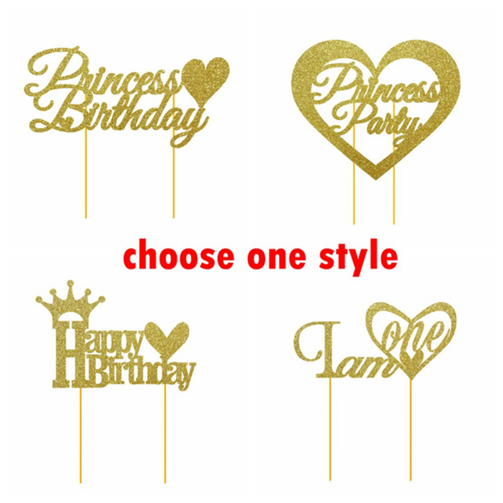 Happy St Gold Cake Topper
