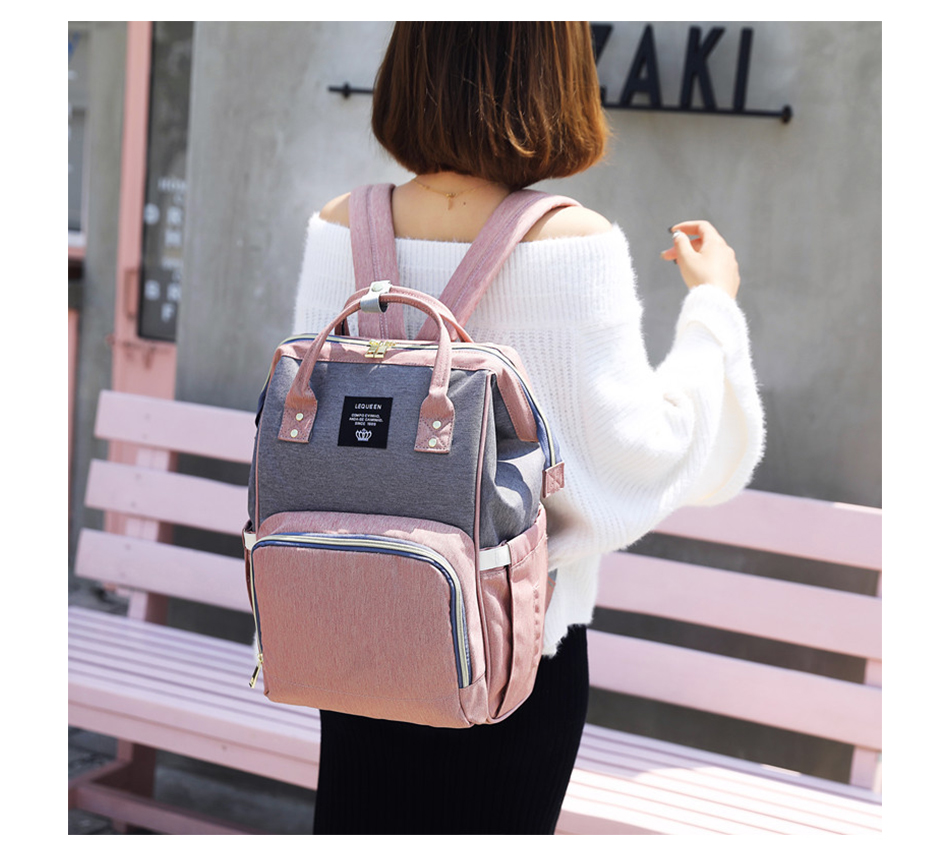 HTB166e5SNnaK1RjSZFBq6AW7VXa7 Nappy Backpack Bag Mummy Large Capacity Bag Baby Multi-function Waterproof Travel Diaper Bags For Baby Care Droshipping